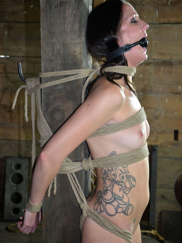 Rope bound Hailey Young with ball gag in her mouth gets ruthlessly used by kinky rope master