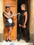 Anissa Kate in a poor maid uniform, getting her ass busted with toys by her mistress Eva Parcker.