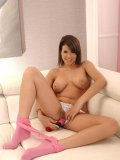 Cinthia Doll in cute pink getting naked and toying with her holes during sex toys & insertions.