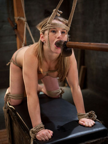 Rope bound Jessie Coxxx takes cock and dildo in every hole in Maestro's dungeon
