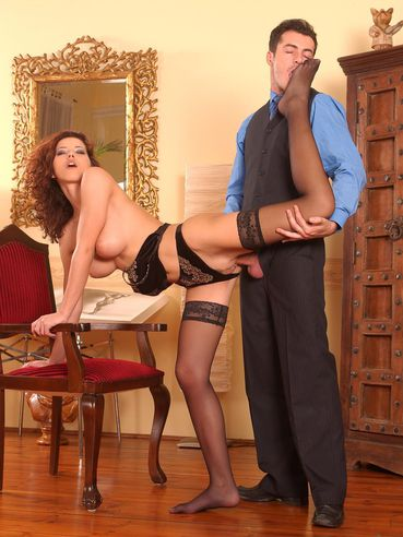 Stunning babe Angel Dark receives cum on her sexy feet in stockings after hot anal pounding