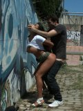 Tanned Latina Yoha with big melons gets drilled by James Deen in the public among strangers.