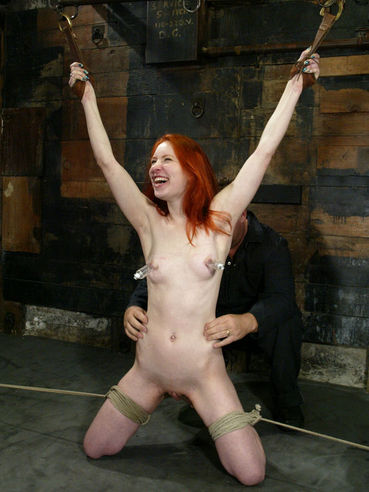 Red-hair Calico Slave gets her nipples tortured before insane hogtie bondage