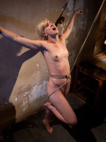 Skinny blonde Dylan Ryan gets restrained to the wall and her small tits are whipped and teased.