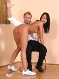Crazy four-eyed man spanks nude brunette chick Lee Dia on her lovely ass