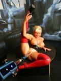 Leggy Sharon Da Valein red latex stockings and black stiletto heels gets machine fucked