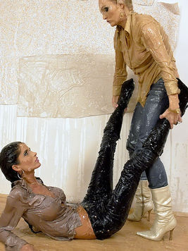 Nessa Devil and another repair girl in jeans and blouse get wet from top to bottom