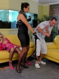 Blonde in pink gets blindfolded then fucked by nude slave guy in front of domina Gina Killmer