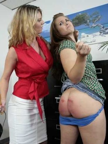 Angry office blonde spanks Maliyah Madison on her big bare booty ruthlessly