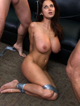 Busty babe Ava Addams with big juicy melons gets drilled hard by three horny soccer players