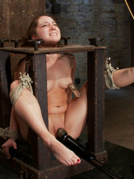 Cute brunette Remy LaCroix sucks a huge wet dick while her hands and legs are restrained.
