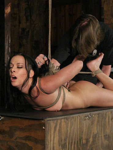 Clothed master curiously punishes naked totally helpless brunette Violet Marcell