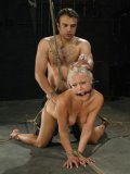 Big titty blonde Jasmine Jolie gets her loose shaved pussy filled with dick in rope bondage