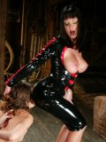Big raced latex domina Melissa Lauren humiliates suspended slender Amber Rayne