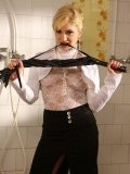 Lea Lexus in white blouse and black skirt punishes Celine Black with water in the public bathroom