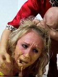 Brunette domina Sister Dee makes naked hogtied blonde Tristan Taylor lick the floor