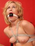 Gagged and rope bound blonde Sasha Knox in shoes gets her crotch seriously vibrated