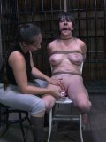 Slave brunette gets her feet caned, her tits clamped and her pussy pegged by domina Sister Dee