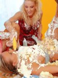 Justine Ashley, Virus Vellons, Francesca Felucci and Victoria Rose get messy on a dinner table
