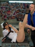 Fetish chick Dana DeArmond having her slit stretched and feet licked during rough sex.