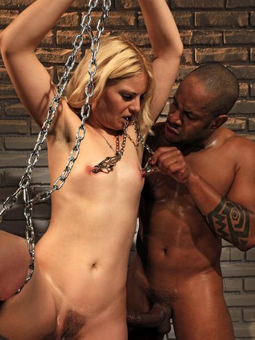 Small titted slave blonde Ionella Dantes gets anally hooked and then takes black dick in her pussy