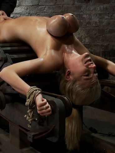 Wet slave blonde Haley Cummings with huge tied up tits gets her bare pussy punished with vibrator