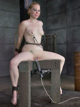 Delirious Hunter clasped up and bending down in kinky poses while her  body goes through BDSM.