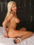 Juggy Tanya James loses her pink lingerie to be tied to bed and rubbed with magic wand