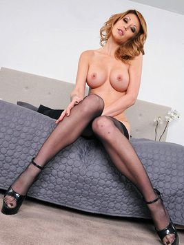 Beauty in stockings Monique Alexander with long legs and round boobs gets ferociously banged