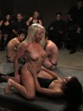 Lorelei Lee on the floor in bondage getting her body stimulated and pegged Princess Donna Dolore.