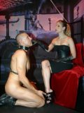 Submissive man gets tortured and humiliated by clothed mistress Domina Hera