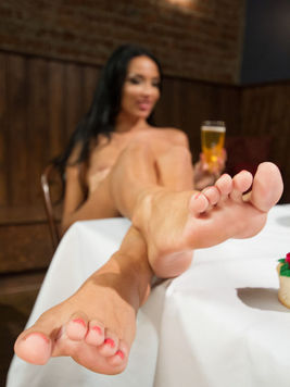 Anissa Kate gives a very lucky dude a footjob that he will never be able to forget