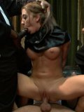 Amy Brooke is getting hard dicks inside her every orifice in bondage from rough sex crew