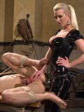 Blonde temptress Cherry Torn gets a young fetish lover to moan while his nipples are pinched.