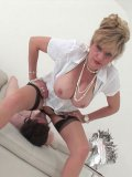 Fetish loving Lady Sonia makes a guy moan and scream during kinky sex toys & insertions.