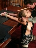 Topless Veronica Stone with clamps on her nipps gets her face abused by Lee Stone in the pool room.