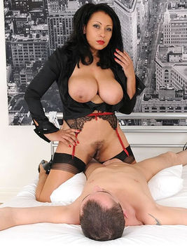Hot black haired woman Donna Ambrose gets tied before intense titty fucking