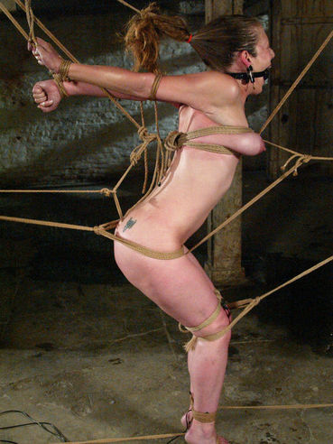 Sexy juicy titted girl Jade Marxxx gets tied up with ropes before amazing water punishment
