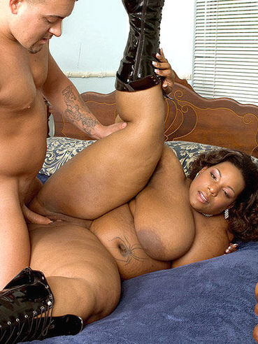 Fat ass black chubby woman Crystal Clear in boots rides white dick and takes cumshot of her juggs
