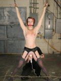 Slim tiny assed slave girl Sula Satanas in stockings with garters gets suspended, spanked and toyed