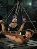 Tiny titted tied slave girl Sara Faye with hairy snatch gets spanked and dildoed by Chanta Rose