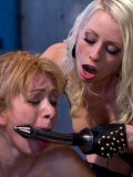 Lea Lexus gets treated like a cheap whore by blonde Lorelei Lee while her fetish slit is filled.