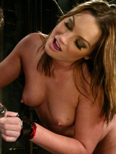 Latex clad sexy domina Flower Tucci has a good time punishing bound guy Stevo