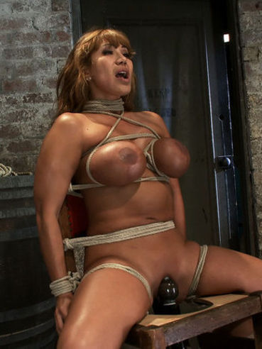 Big meloend middle aged slave woman Ava Devine gets tied to chair with vibrator