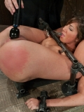 Flexible slave brunette Angelica Saige gets her pussy touched and her nipples pinned close-up