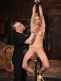 Totally nude tied slave blonde Tara Lynn gets her shaved pussy mercilessly toyed