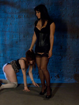 Poor slave Violet Monroe is getting various sex stuffs from kinky Isis Love and Derrick Pierce