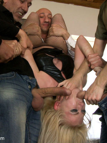 Slutty blonde Isabella Clark gets roughly fucked and gagged by a bunch of horny hunks