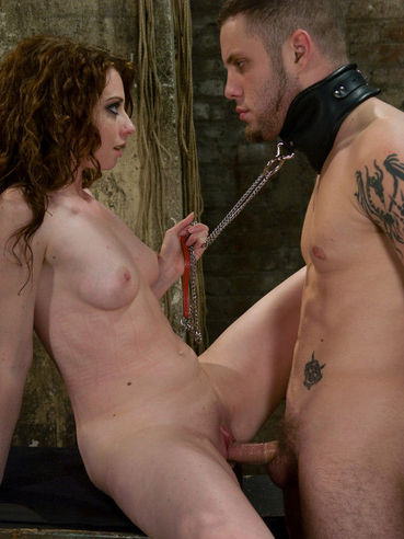 Leashed guy Wolf Hudson licks and fucks shaved pussy of dom Amber Keen after torture