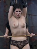 Slave girl Marina gets hogtied and caned after eating toes of her domina Sister Dee